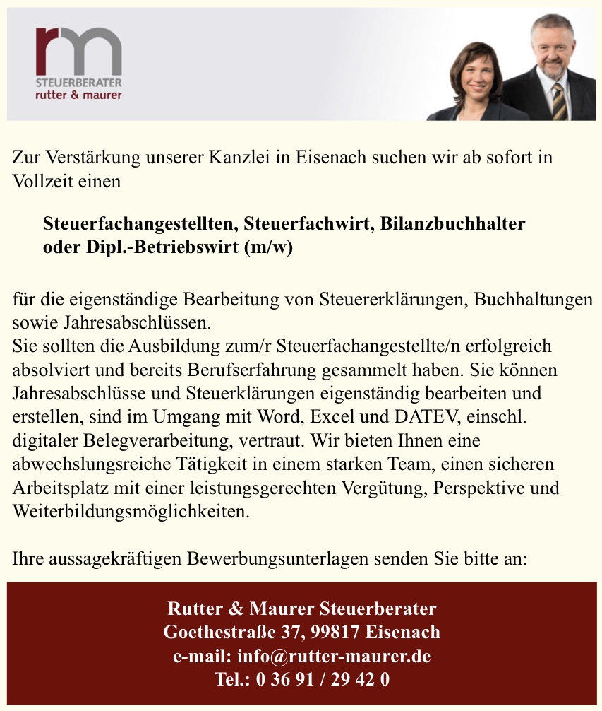 Jobs in der Steuerkanzlei Rutter & Maurer